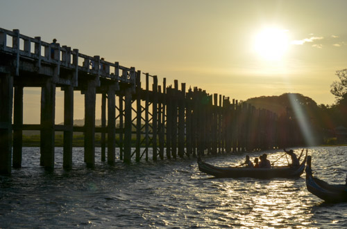 Sunset at the longest teak bridge in Mandalay